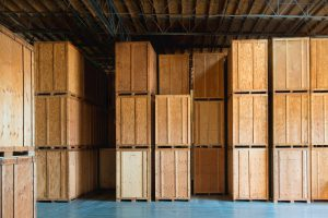 Warehouse with crates, storage stora